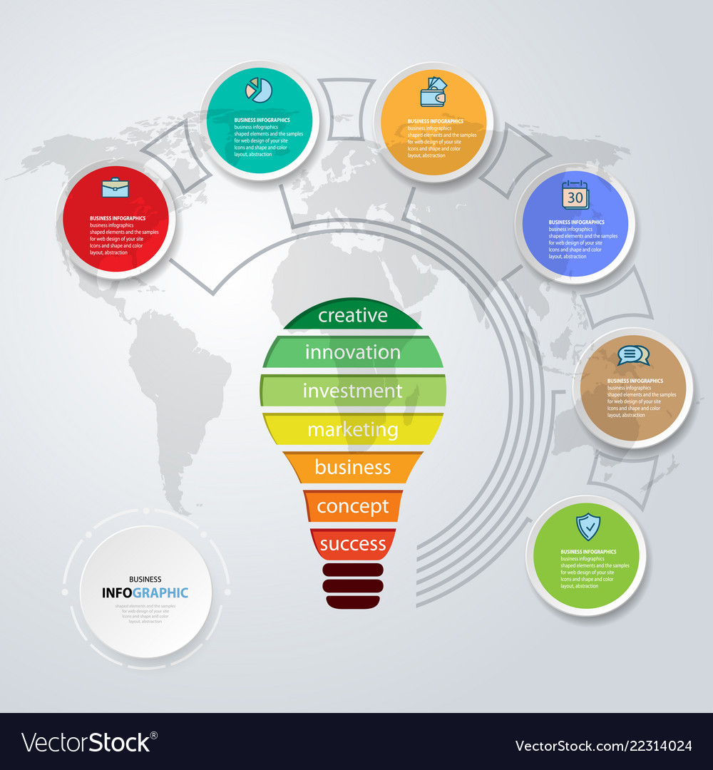 Business bulb infographics annual color report