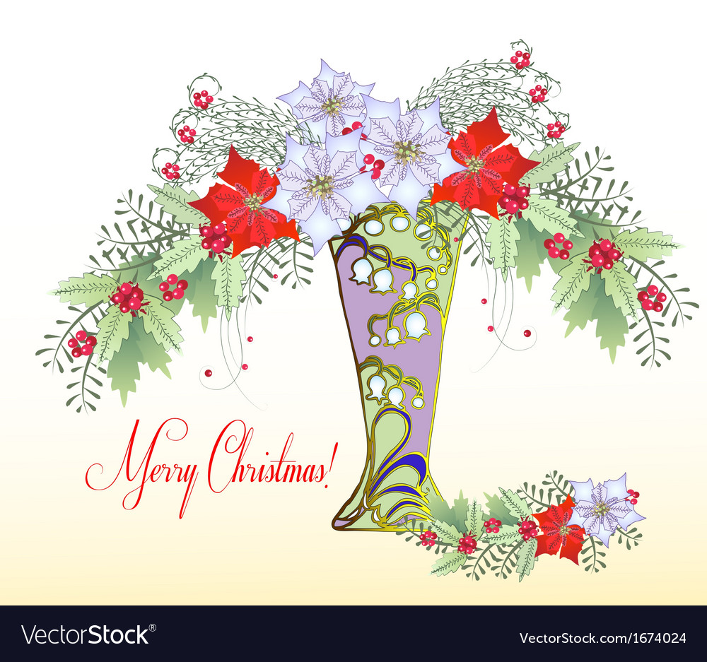 Christmas Card With Vase And Bouquet Of Poinsettia