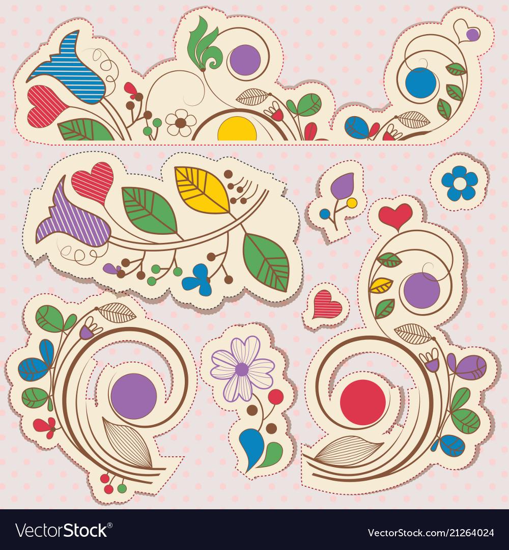 Floral scrapbook design elements over polka dot