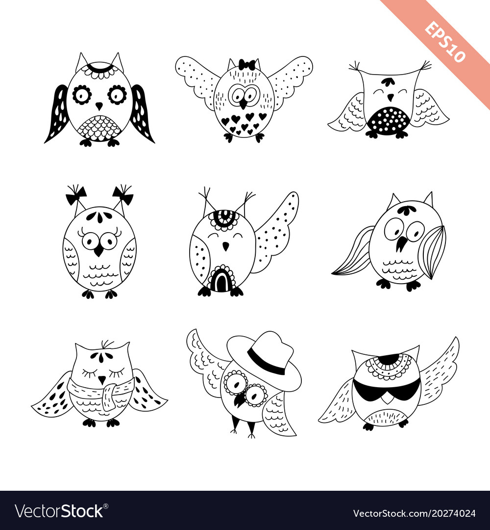 Hand drawn doodle owls set