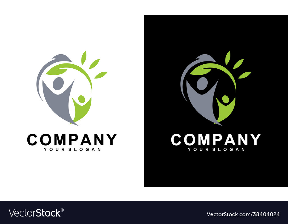 Human with leaf logo concept medical clinic