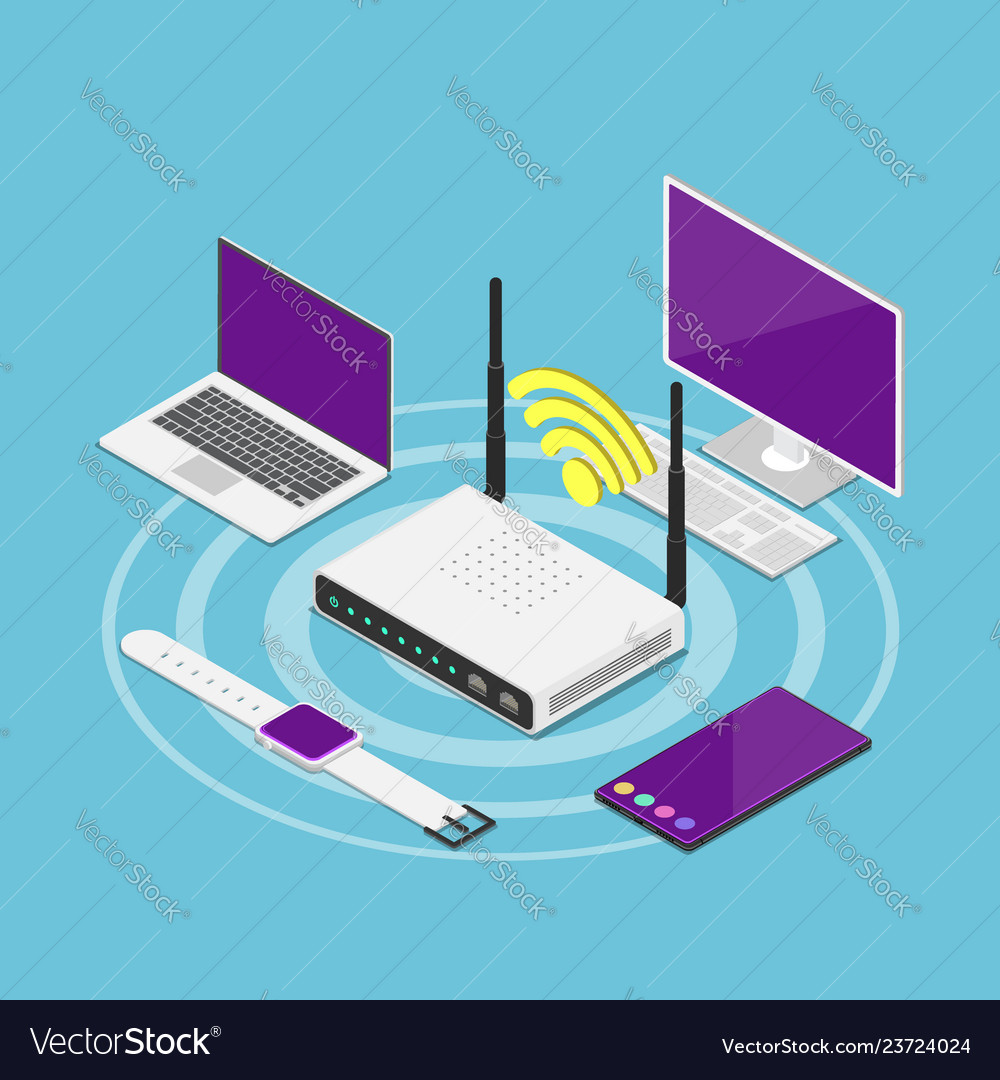 Isometric electronic devices connected to a wifi
