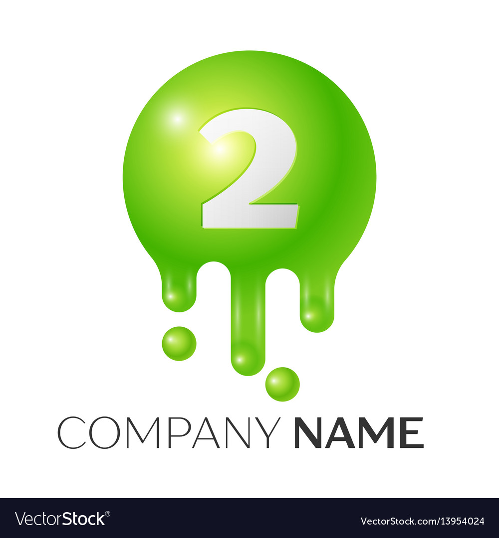 Number two splash logo green dots and bubbles vector image