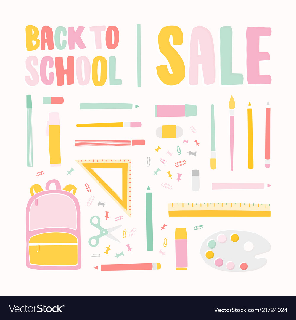Square banner template for back to school sale