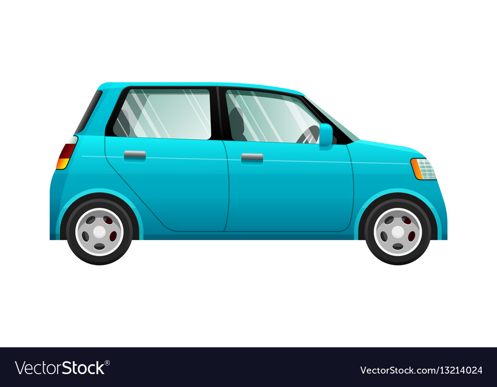 Transport of small blue automobile vector image