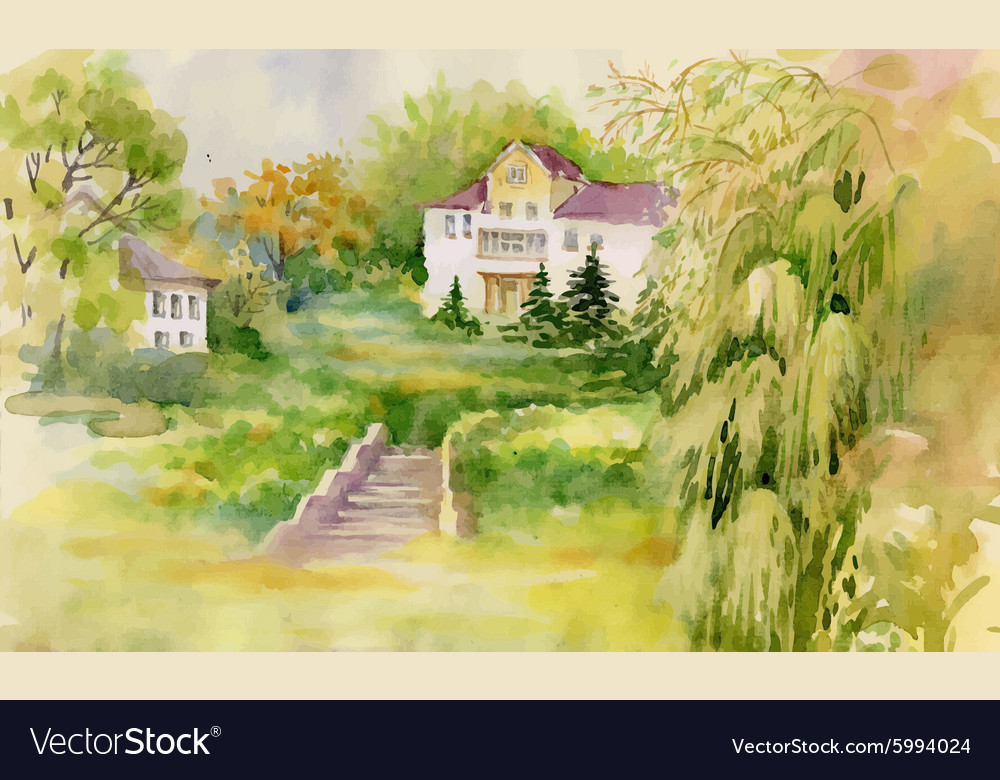 Watercolor painting of house in woods