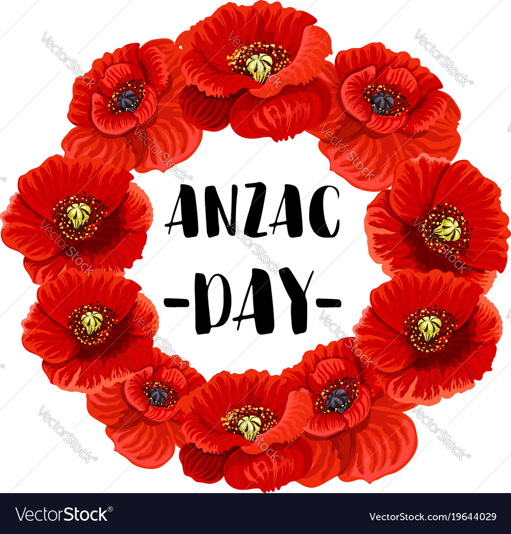 Anzac day memorial wreath icon of red poppy flower anzac day memorial wreath icon of red poppy flower vector image mightylinksfo