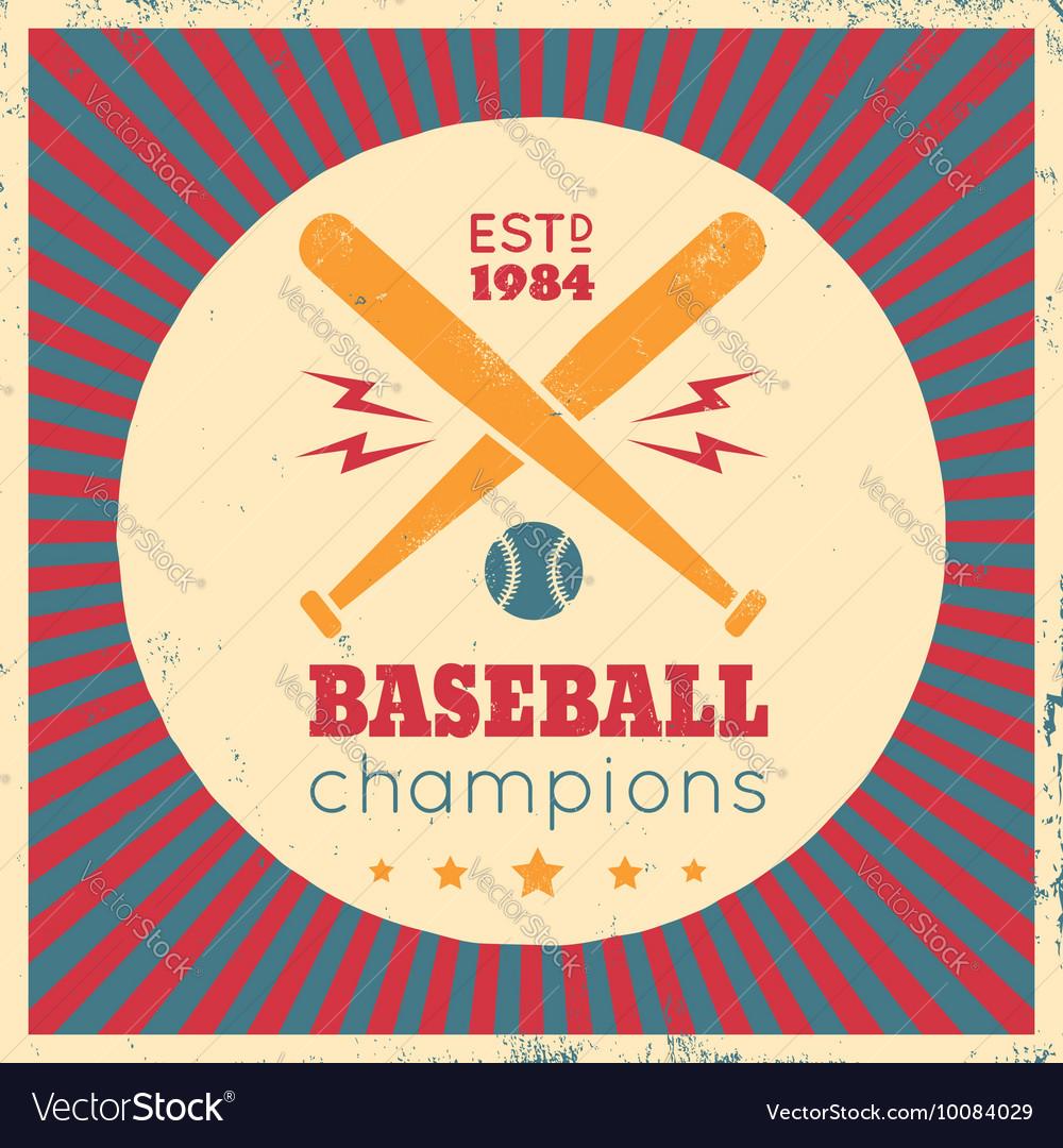 Baseball vintage poster red