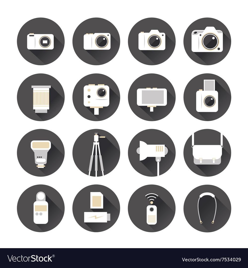Camera Photography Flat Icons Set