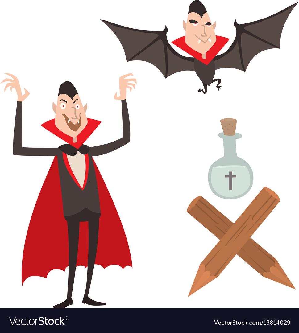 Cartoon dracula symbols vampire icons