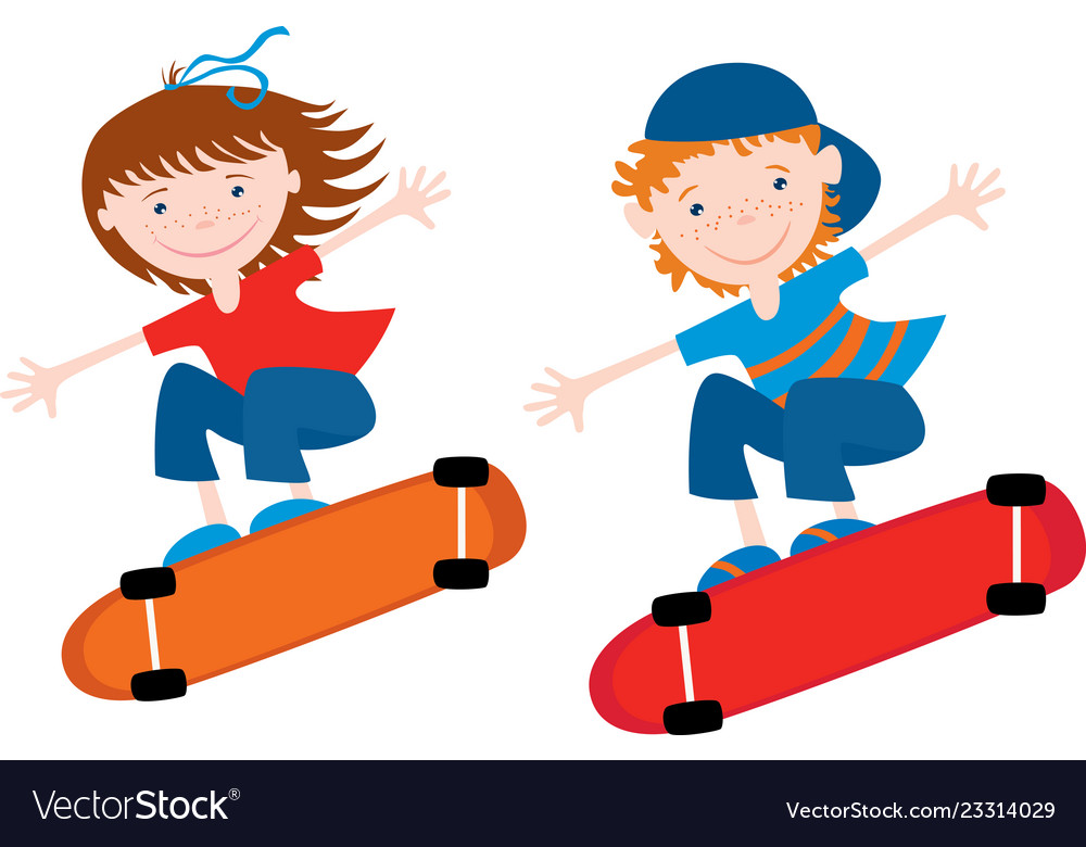 Cheerful kids ride on the skateboards