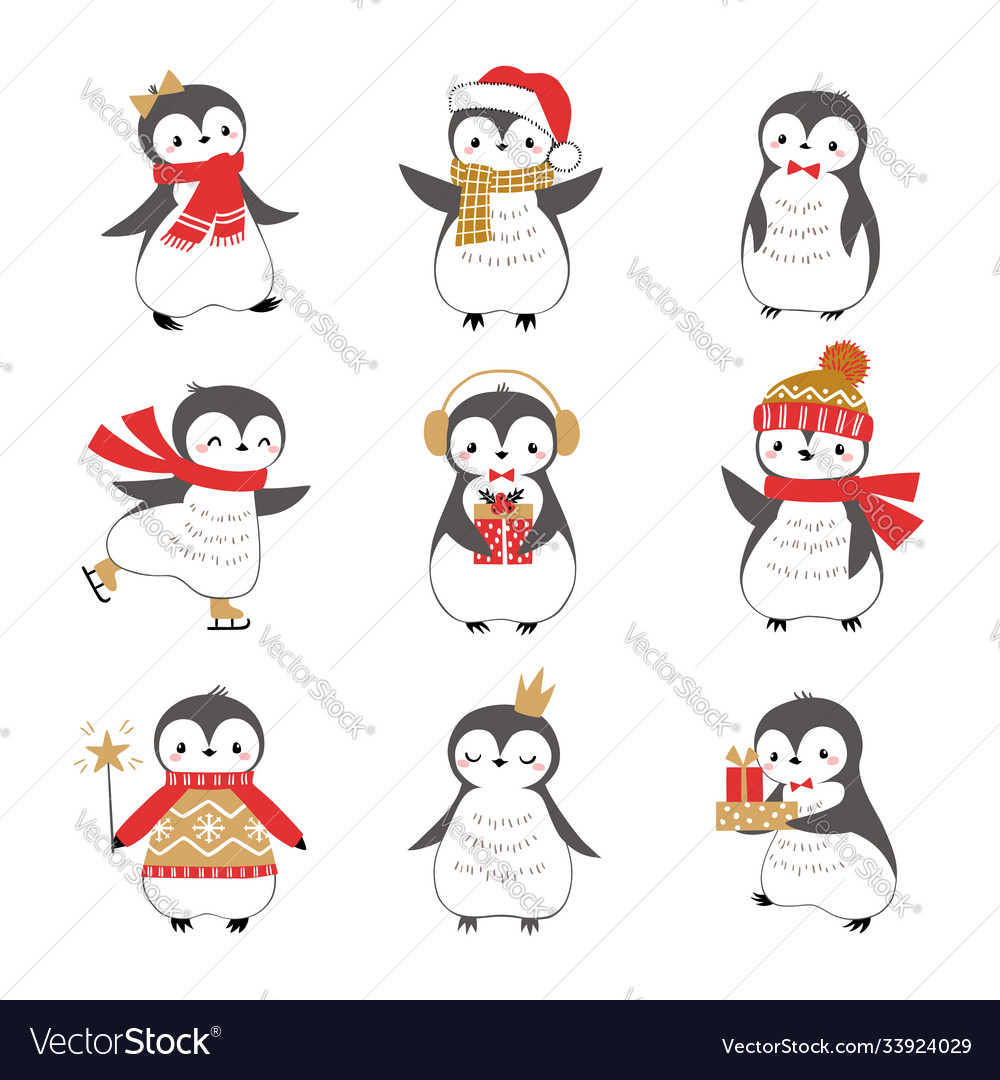 Christmas sweet little bird penguins