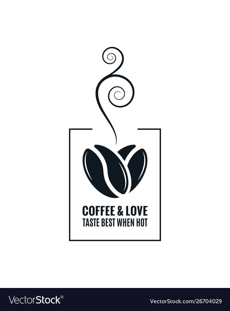 Coffee love concept coffee beans design on white