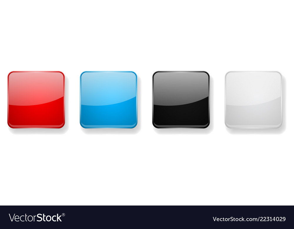 Colored glass 3d buttons square icons