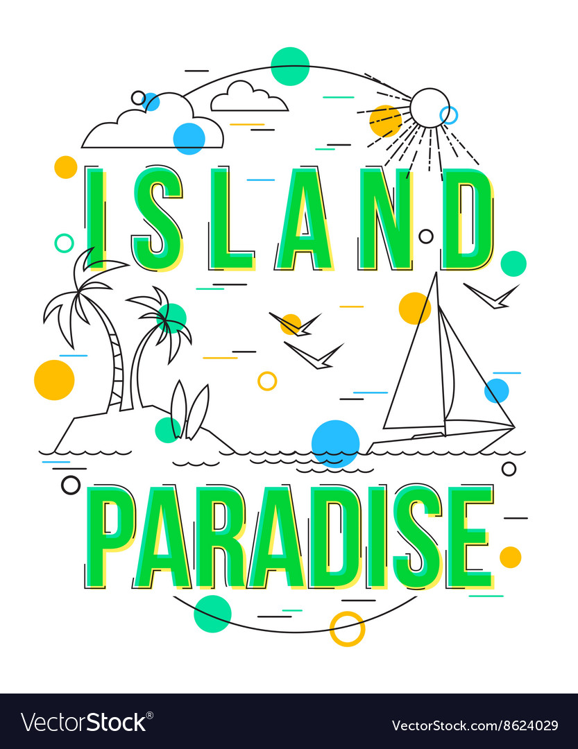 Island Paradise Background with icons and