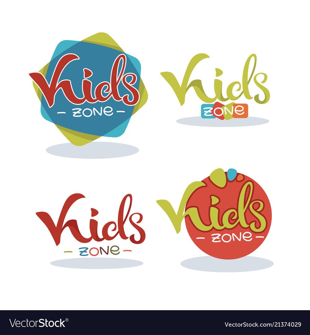 Kids zone playful lettering logo composition