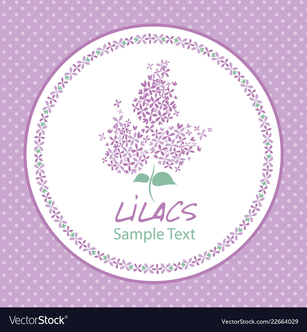 Lilac flower logo design text hand drawn