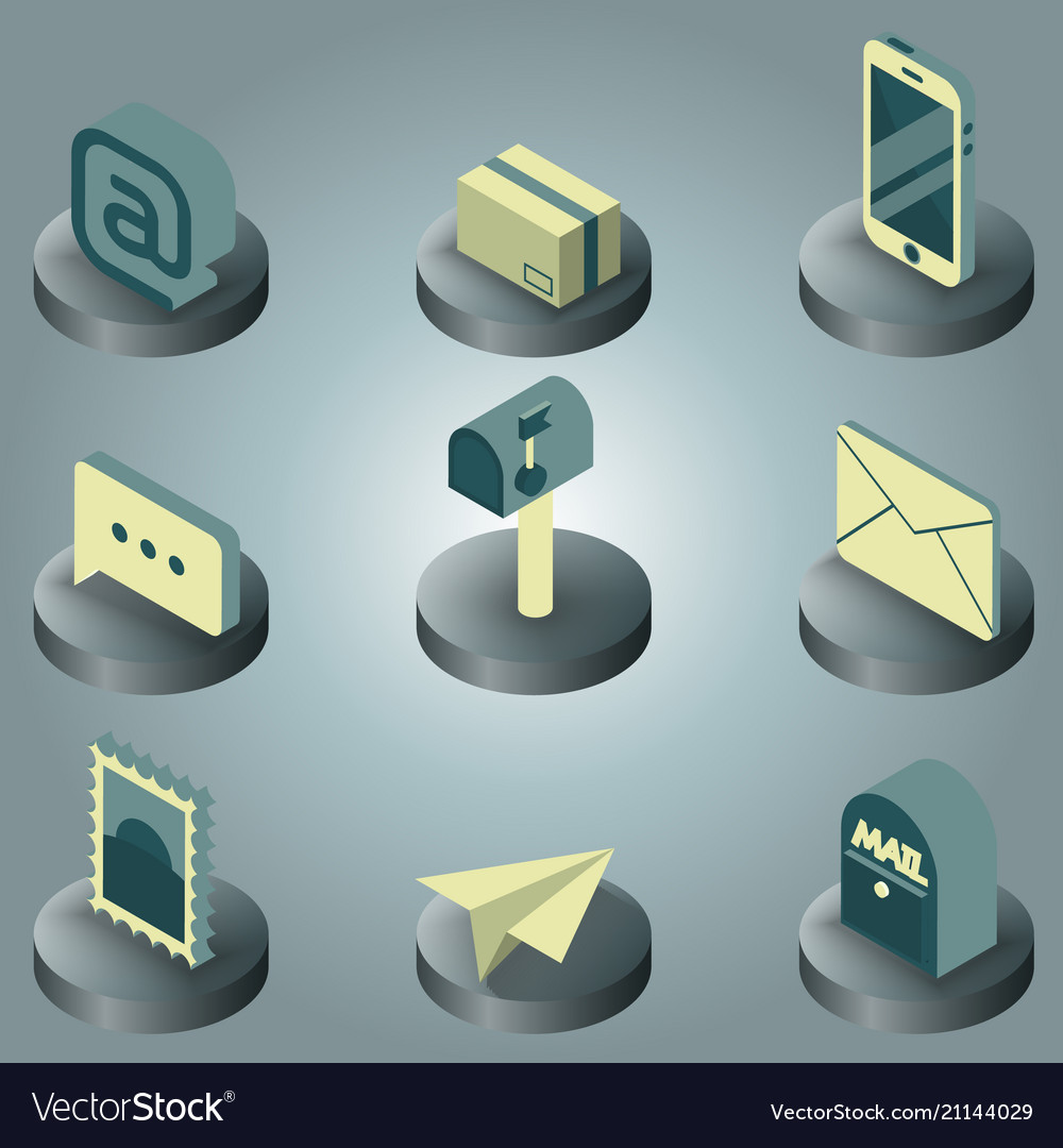Mail color isometric icons
