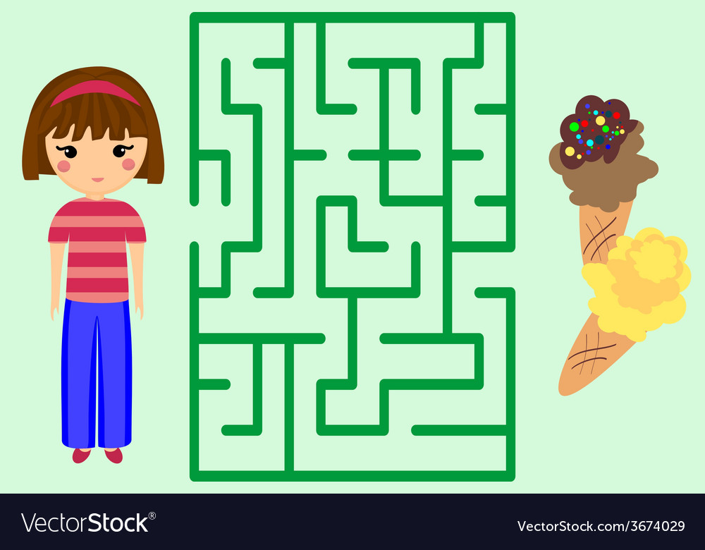 maze game help the girl to get ice cream puzzle vector image