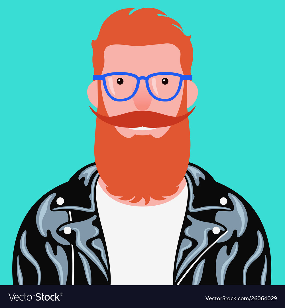 Portrait bearded man in leather jacket