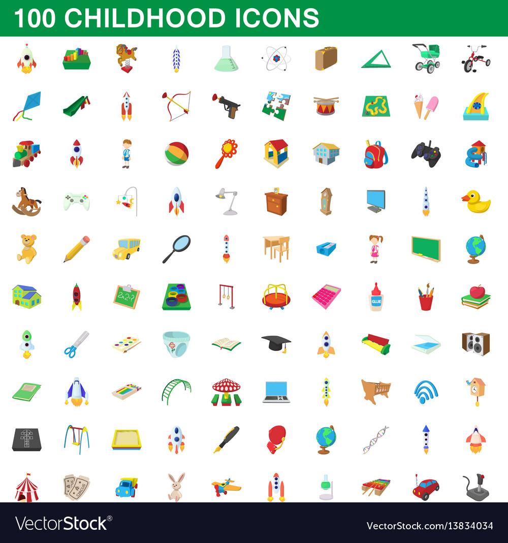 100 childhood icons set cartoon style