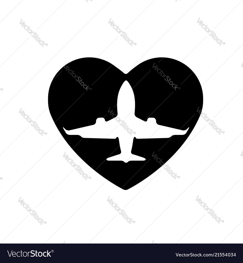 Aircraft In Heart Icon A Symbol Of Love Royalty Free Vector