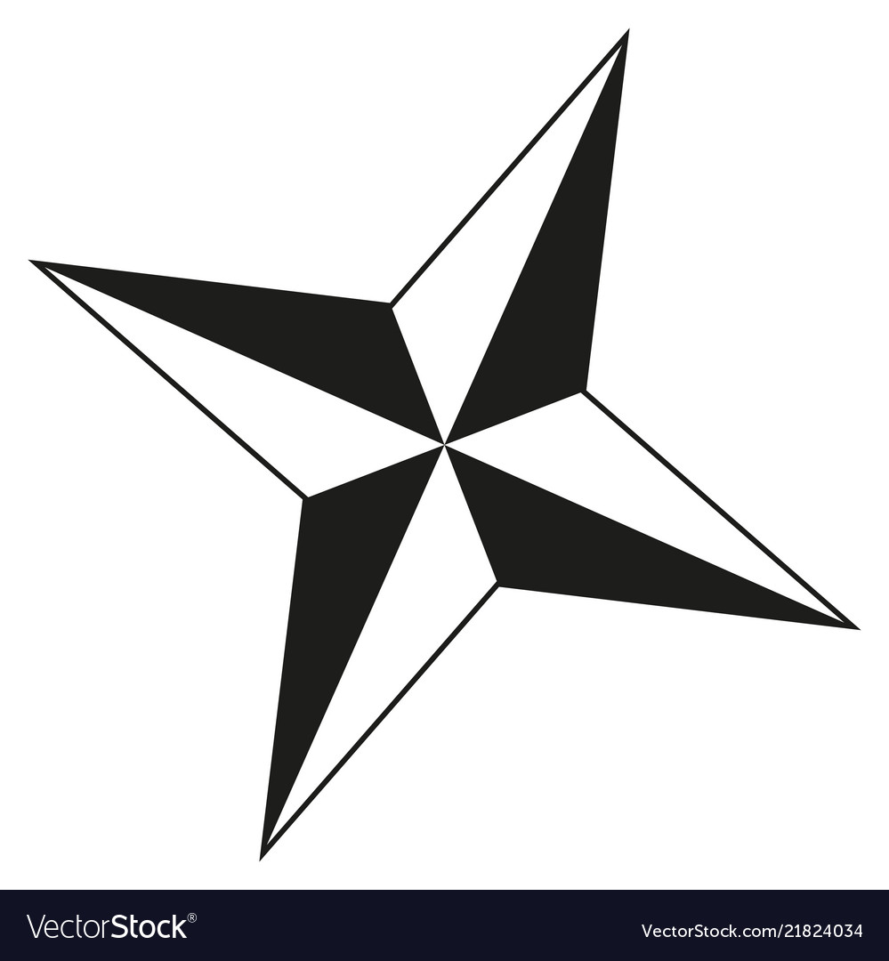 Christmas Star Silhouette.Black And White 4 Point Star Silhouette
