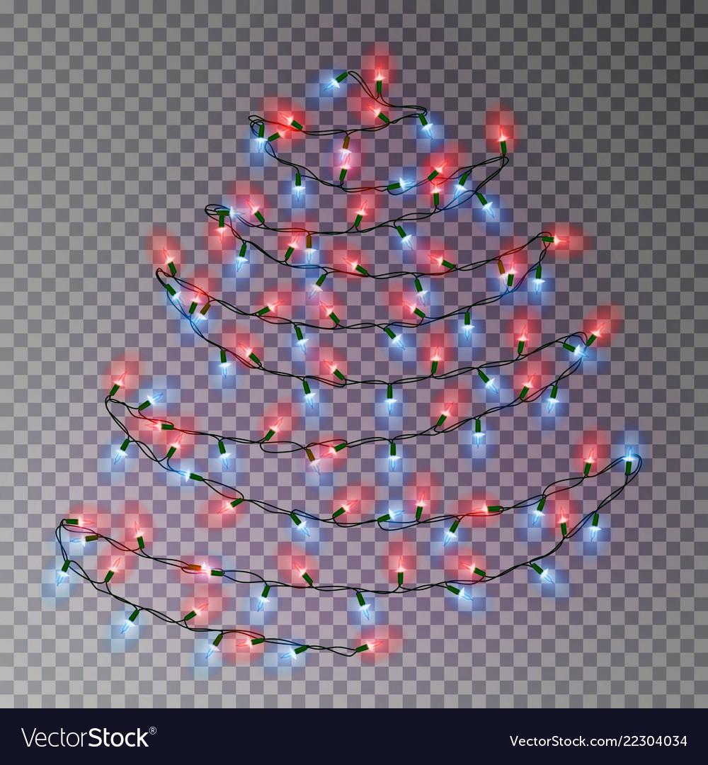 Christmas Color Tree Of Lights String Transpa