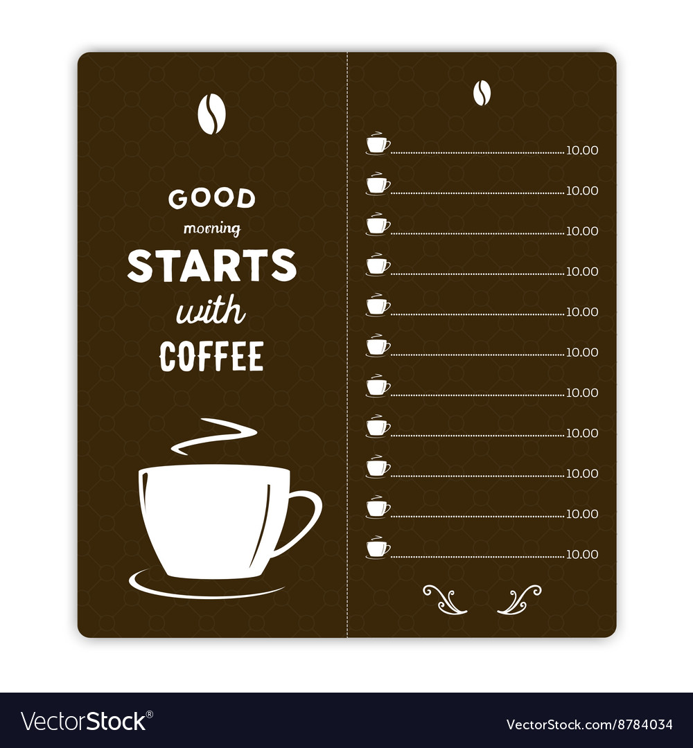 Coffee card with coffee cup on brown background