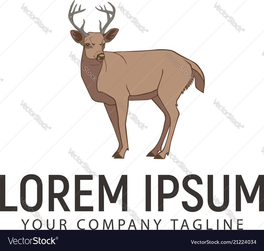 Deer retro vintage logo design concept template