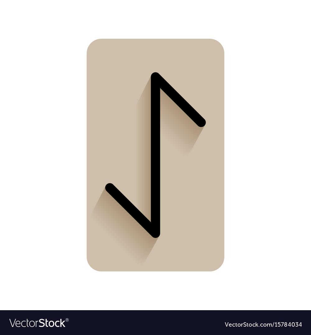 Eihwaz runic alphabet and letters flat icon on vector image
