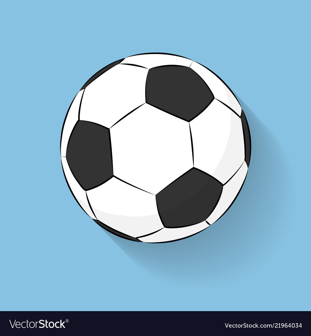 Football soccer ball icon flat stile with long