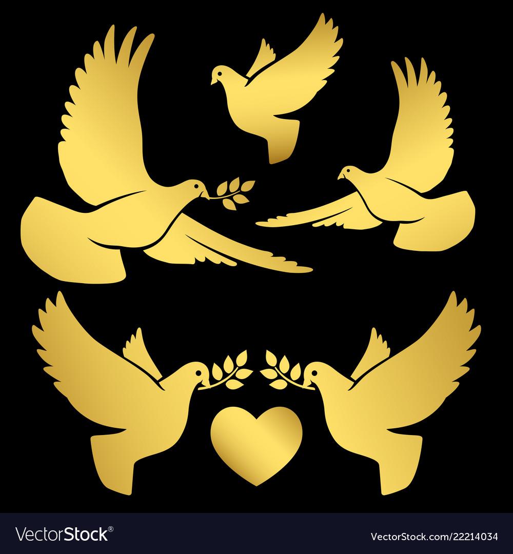 Gold flying doves on black