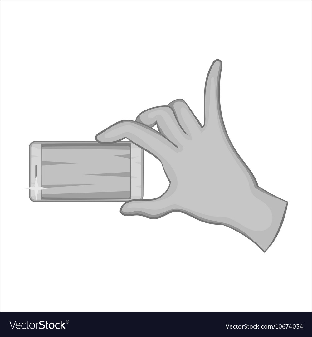 Hand holding mobile phone icon monochrome style vector image