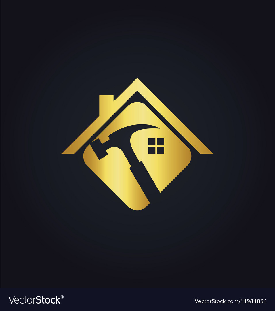 Home renovation tool gold logo vector image