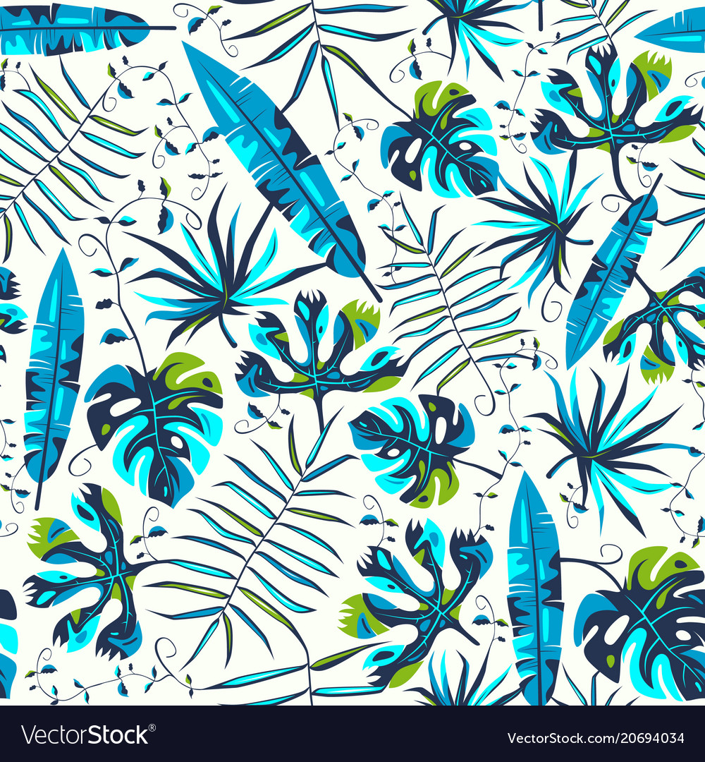 Seamless pattern with tropical plant leaves