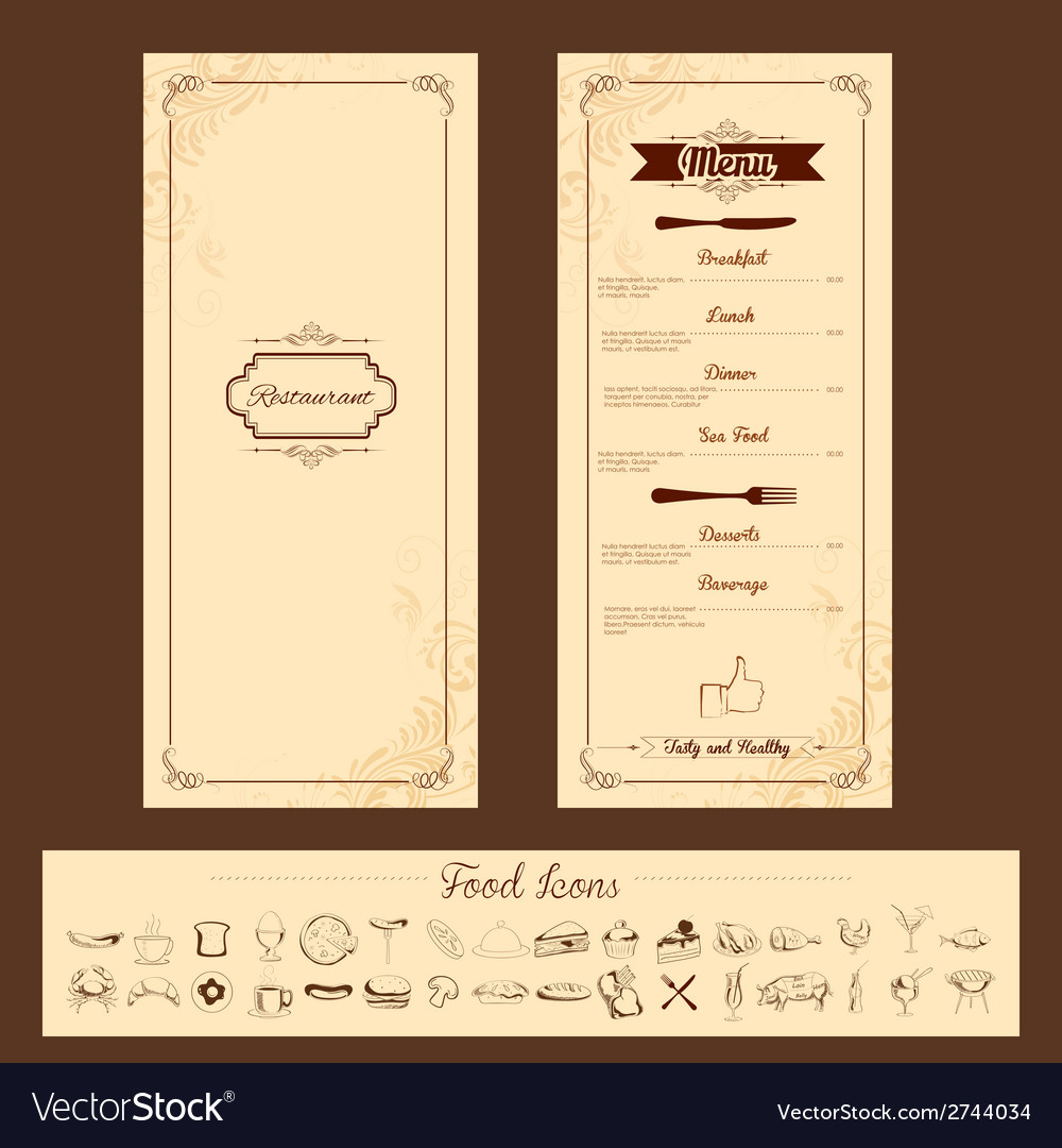 template for menu card royalty free vector image