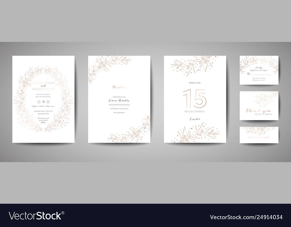Wedding invitation floral elements save date