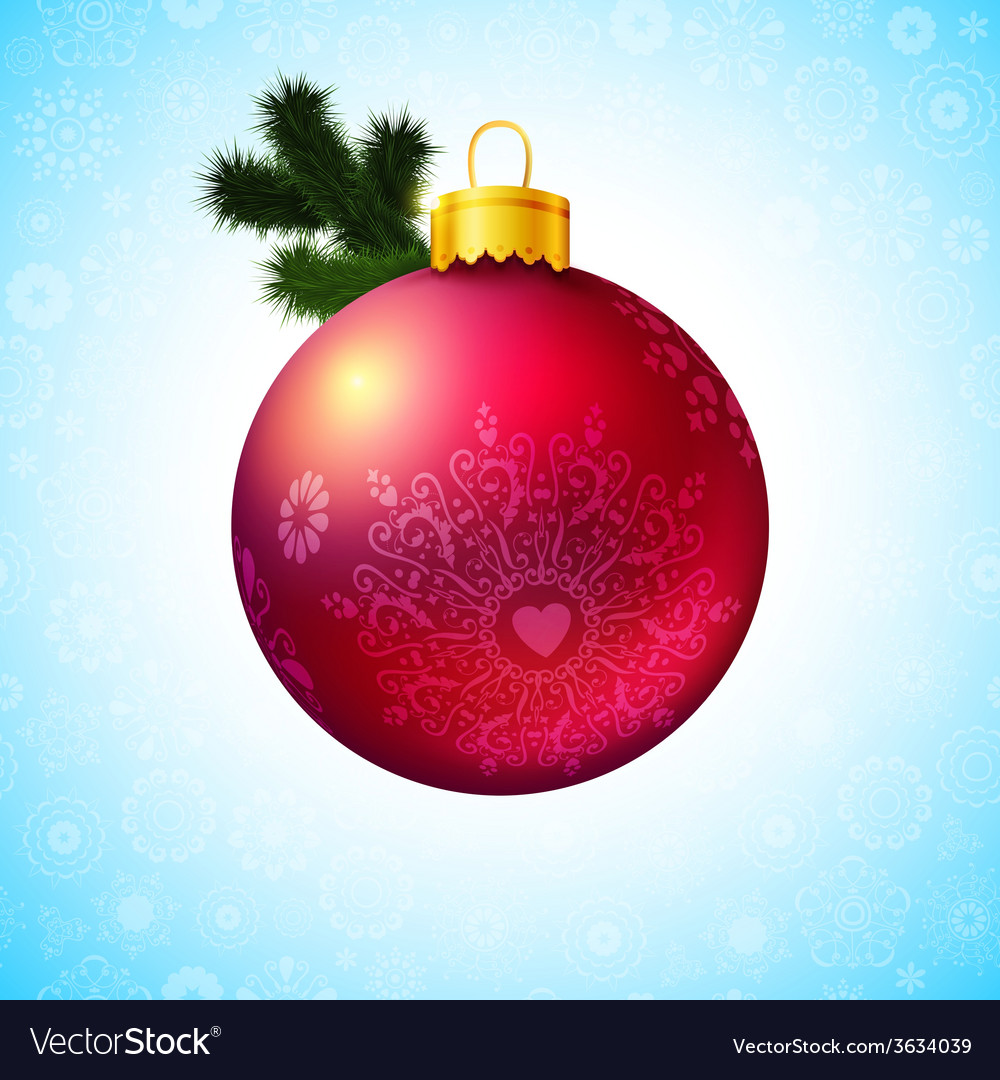 Bright Christmas ball and fir tree branch