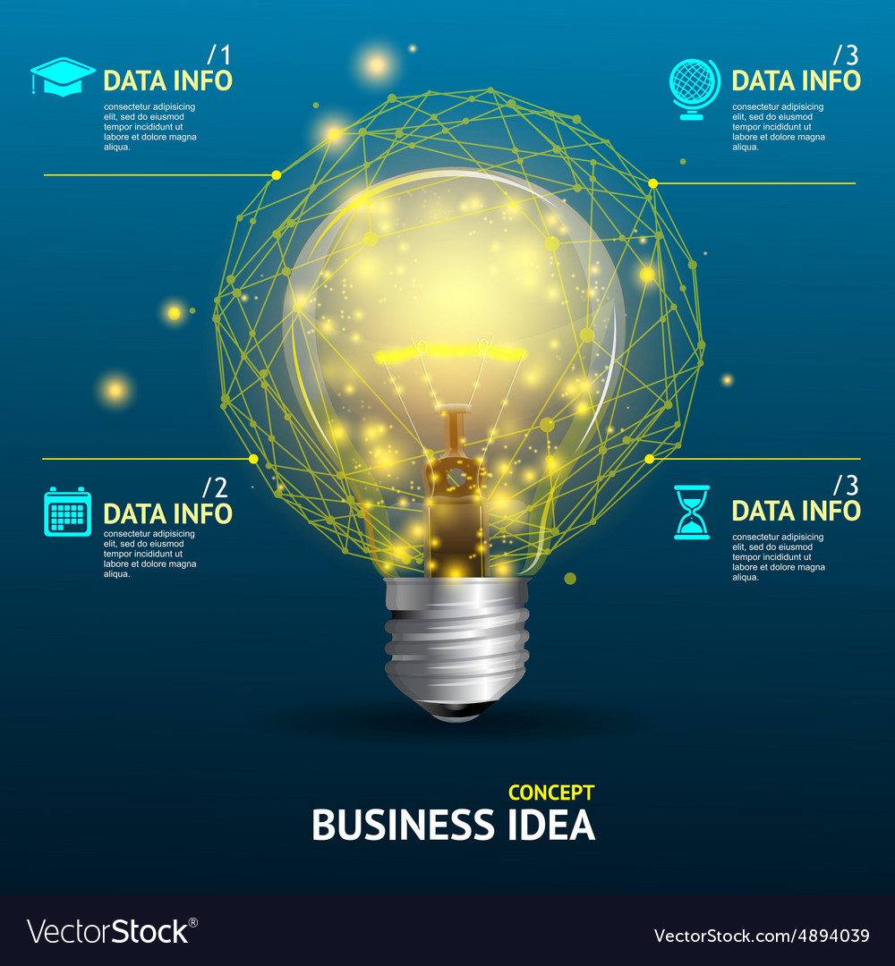Business idea concept illuminated lamp