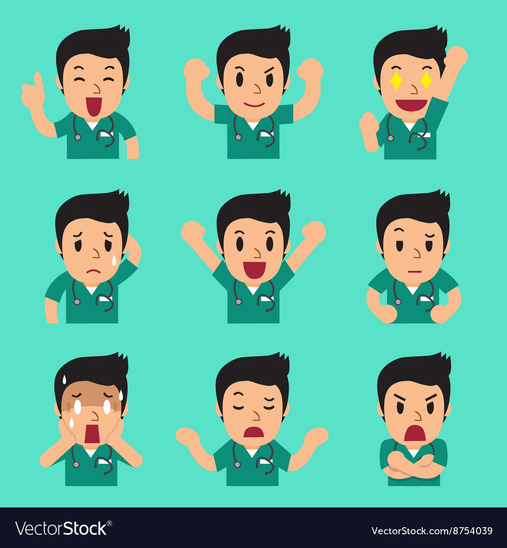 Cartoon male nurse faces showing different vector image