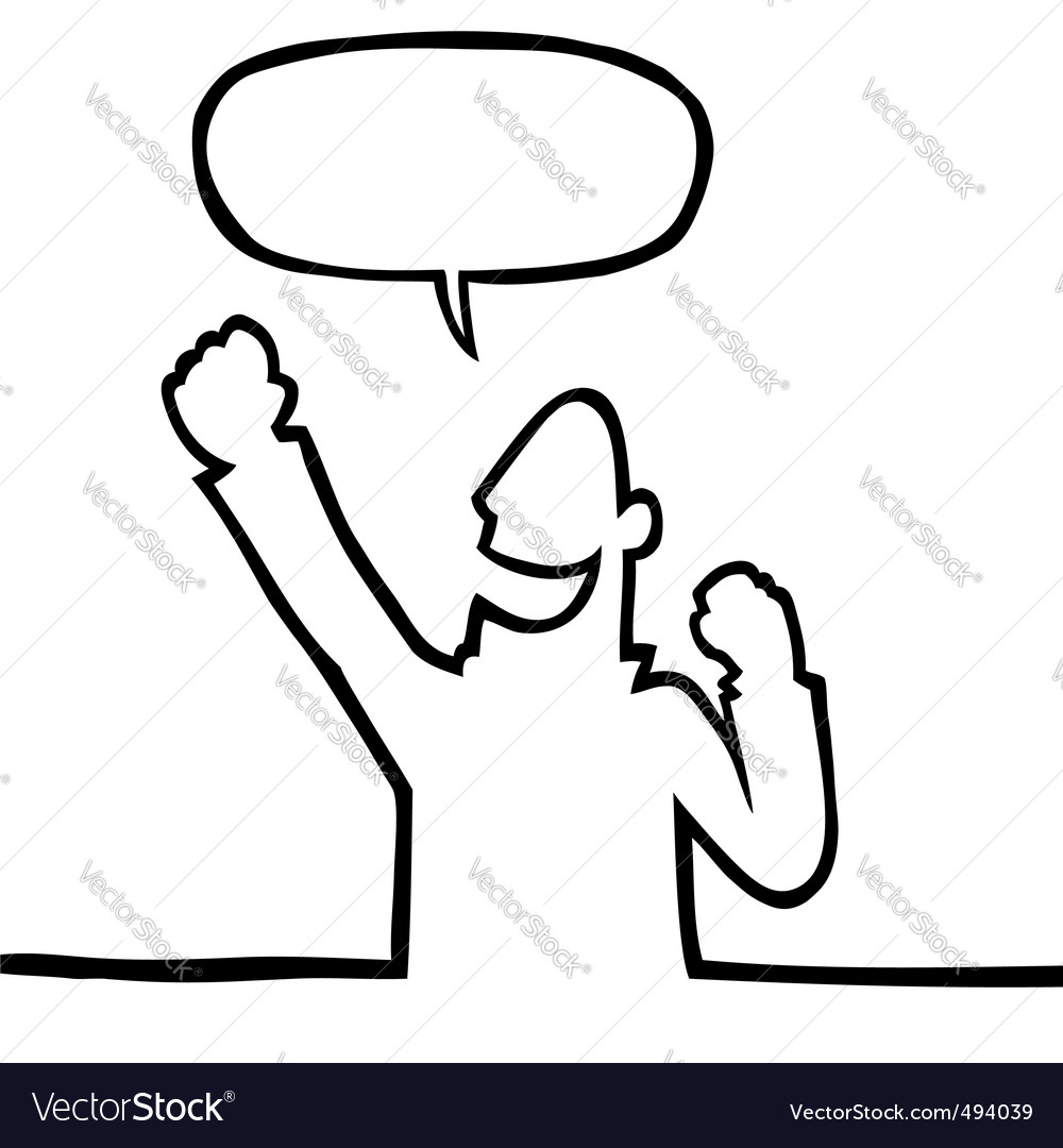 Cartoon person cheering