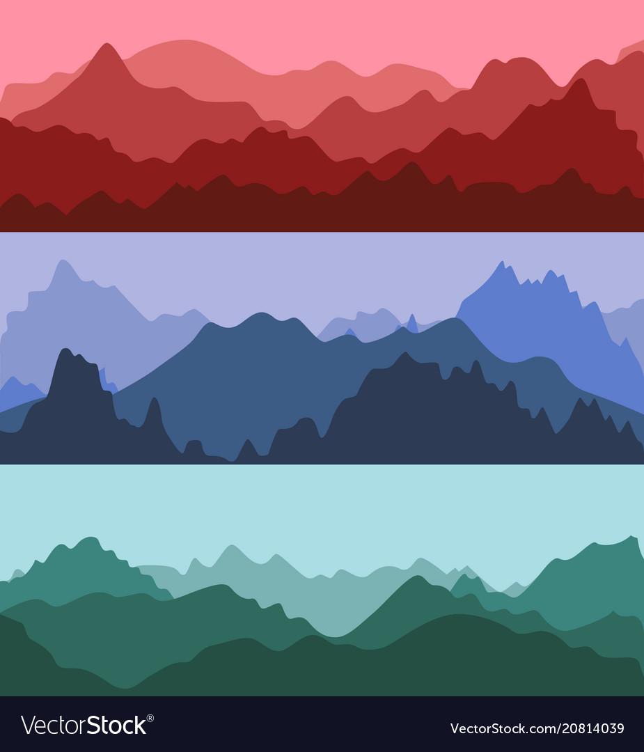 Cartoon silhouette color mountains landscape