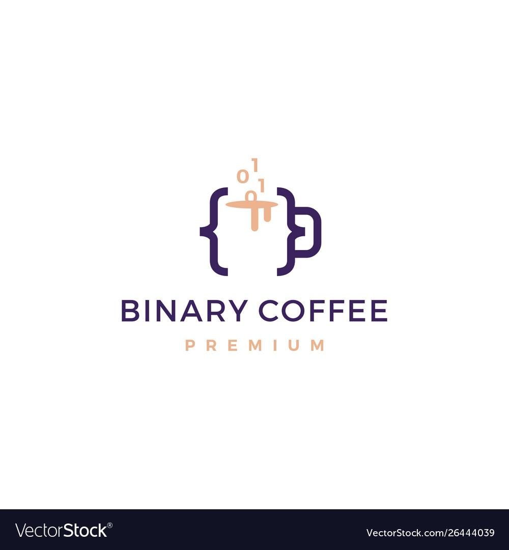 Code binary coffee cafe mug glass logo icon