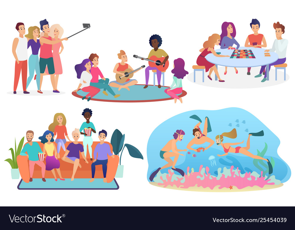 Collection isolated groups people spending