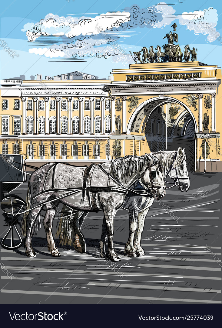 Colorful hand drawing st petersburg 9
