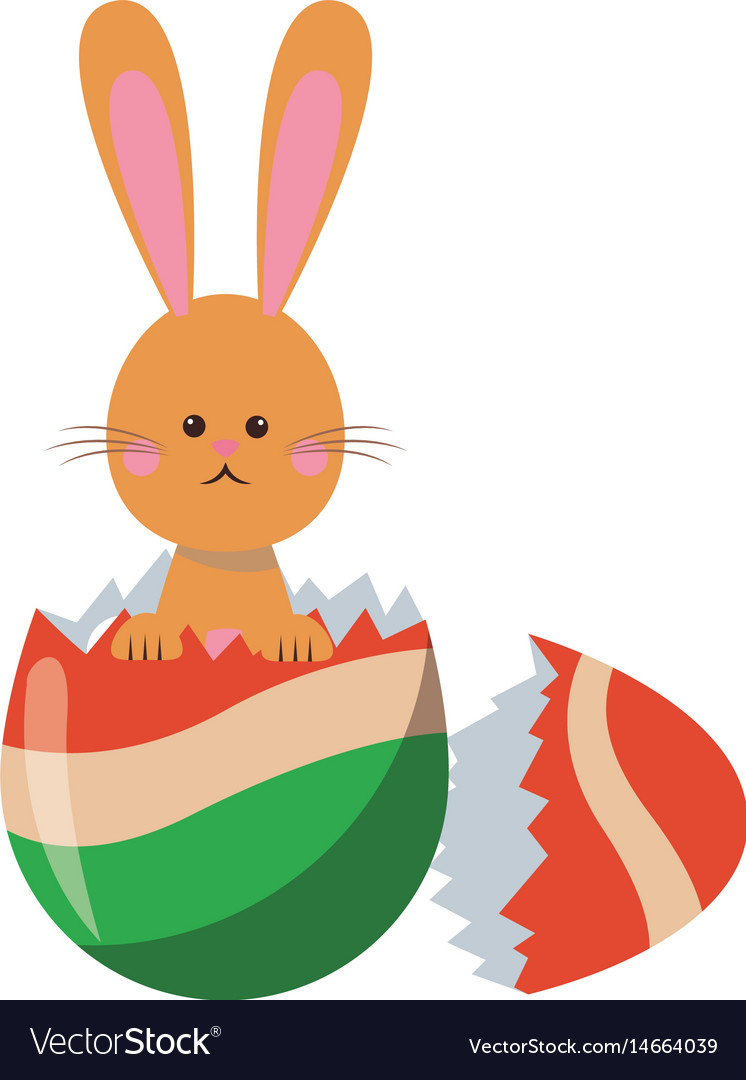 Cute easter bunny broken egg adorable design vector image