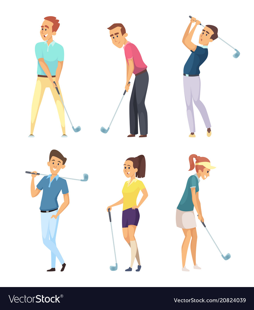 Different golf players isolate on white background