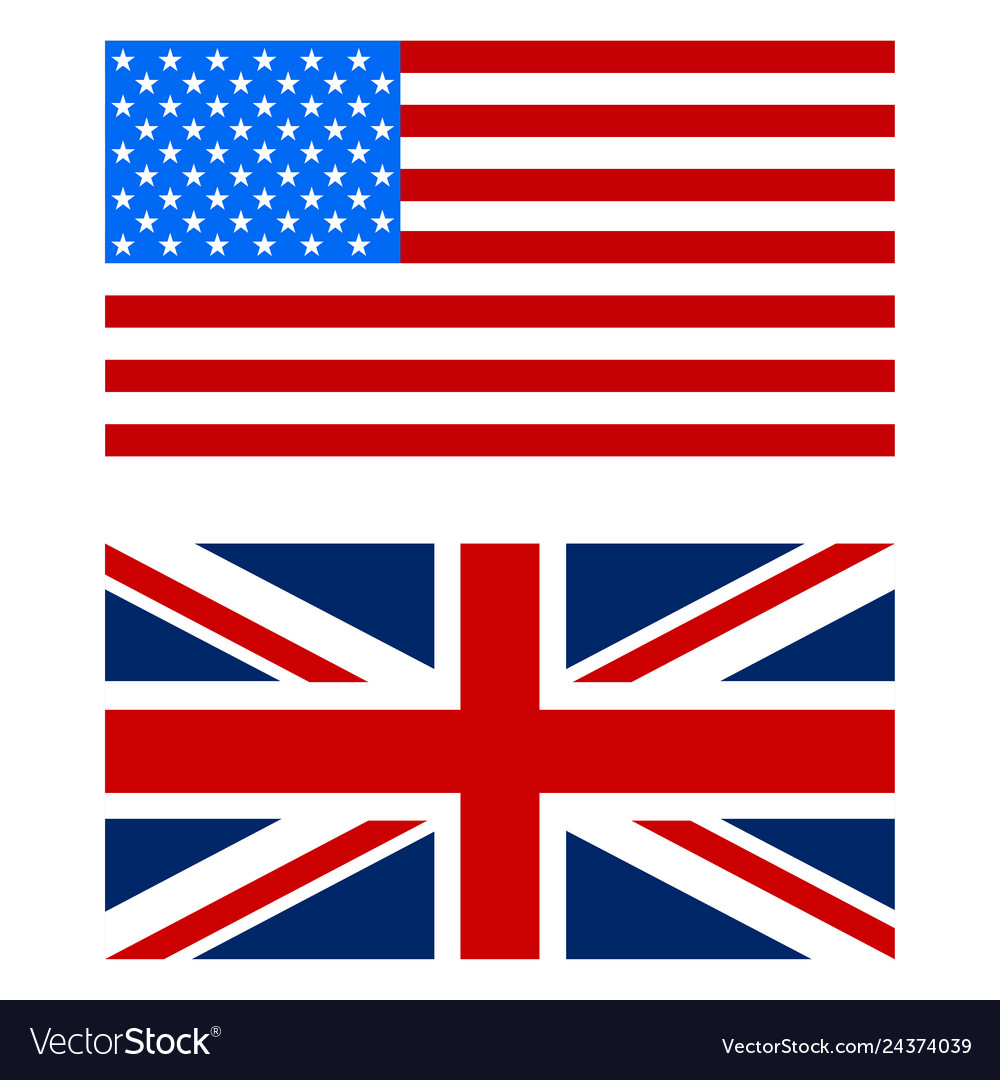 Flags the us and uk white background