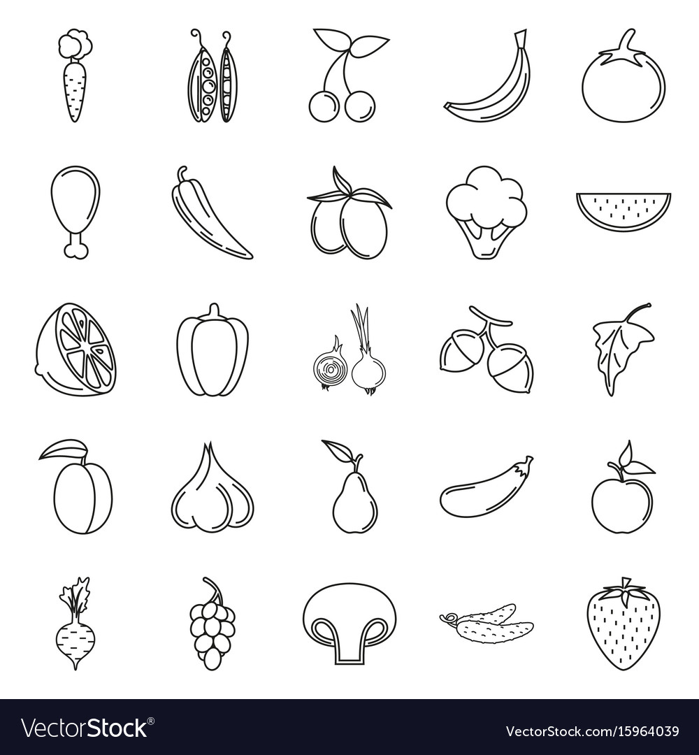 Food icon set vegetables and meat on white